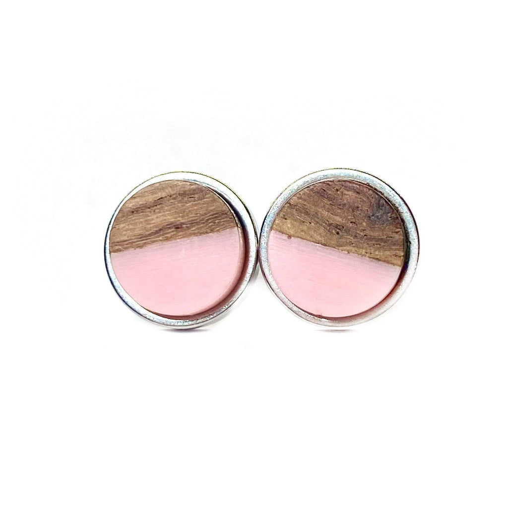 Blush Wood 10mm Stud Earrings