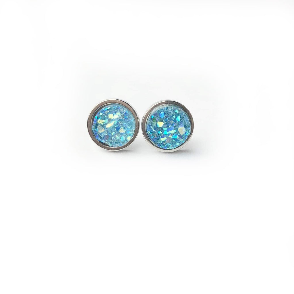 Brilliant Blue Druzy Stud 8mm Earrings
