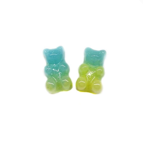 Aqua and Green Glitter Gummy Bear Earrings