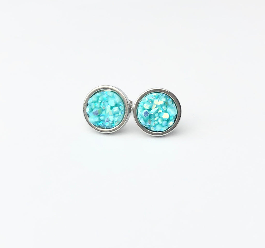 Robin Blue Druzy Stud 8mm Earrings