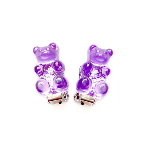 Purple Gummy Bear Clip On Earrings
