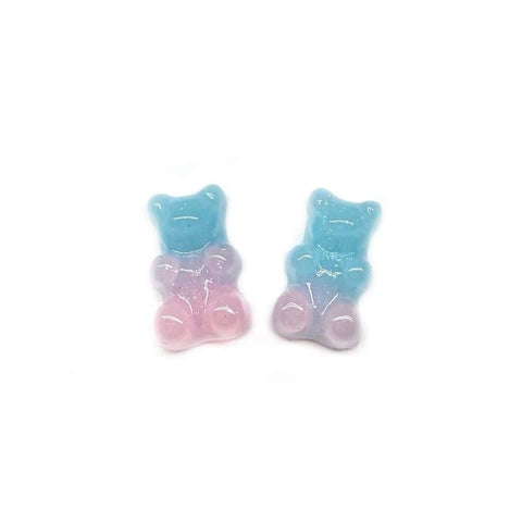 Baby Blue and Light Pink Glitter Gummy Bear Earrings