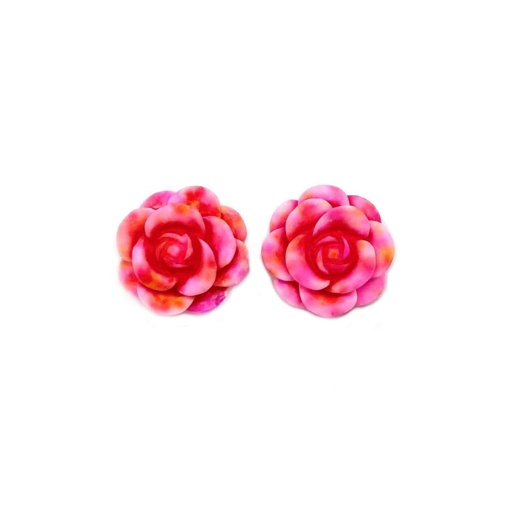 Pink and Orange Rose Earrings