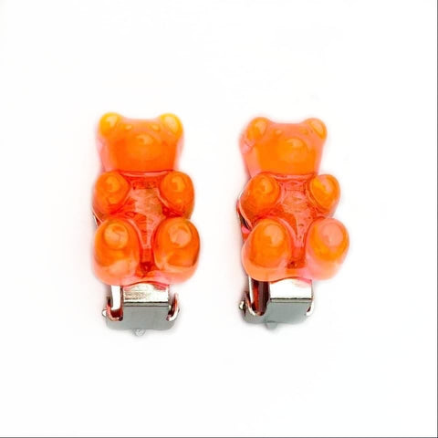 Neon Orange Gummy Bear Clip On Earrings