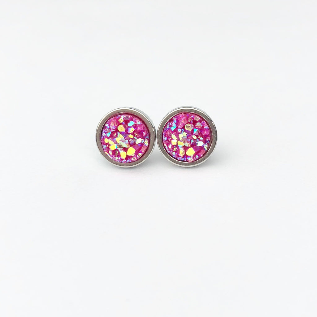 Magenta Druzy Stud 8mm Earrings