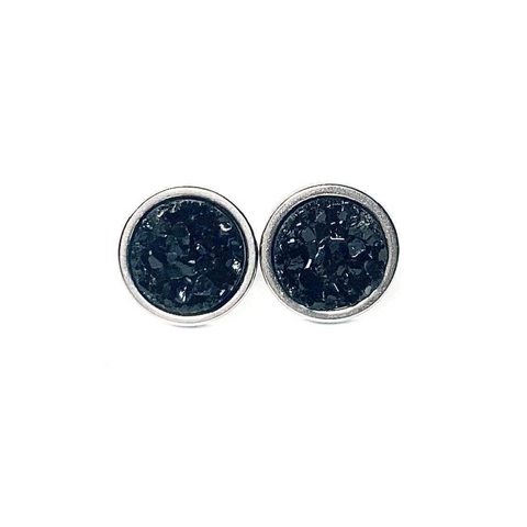 Black Druzy Stud 8mm Earrings