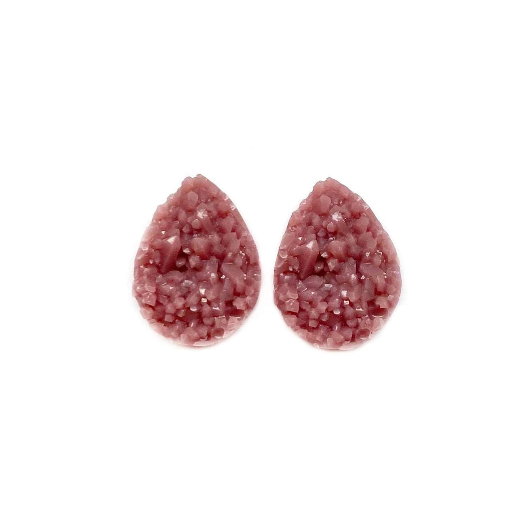 Rose Dawn Druzy Teardrop Mini Stud Earrings