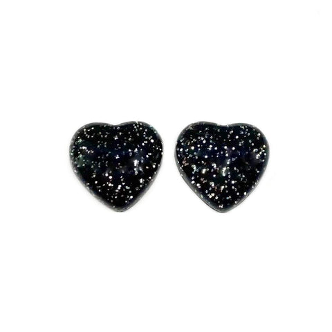 Black Glitter Heart Earrings