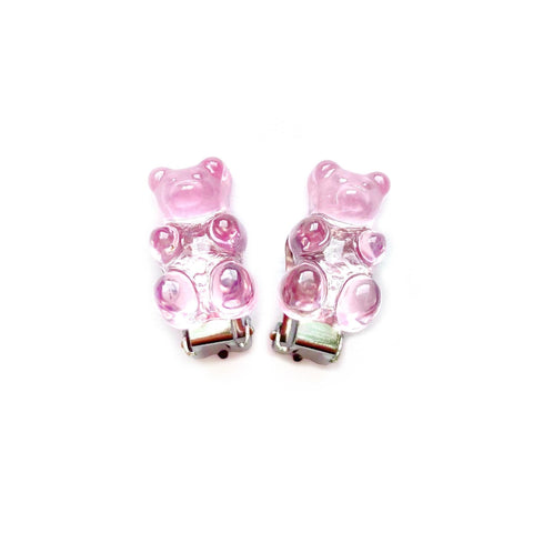 Pink Gummy Bear Clip On Earrings