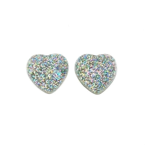 Unicorn Glitter Heart Earrings