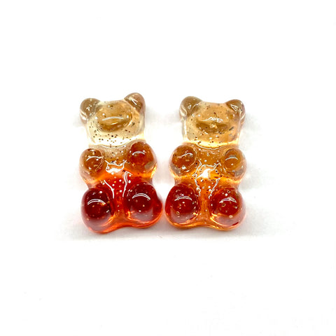 Tan and Brown Glitter Gummy Bear Earrings