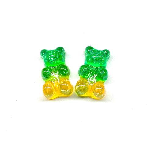 Green and Yellow Glitter Gummy Bear Earrings