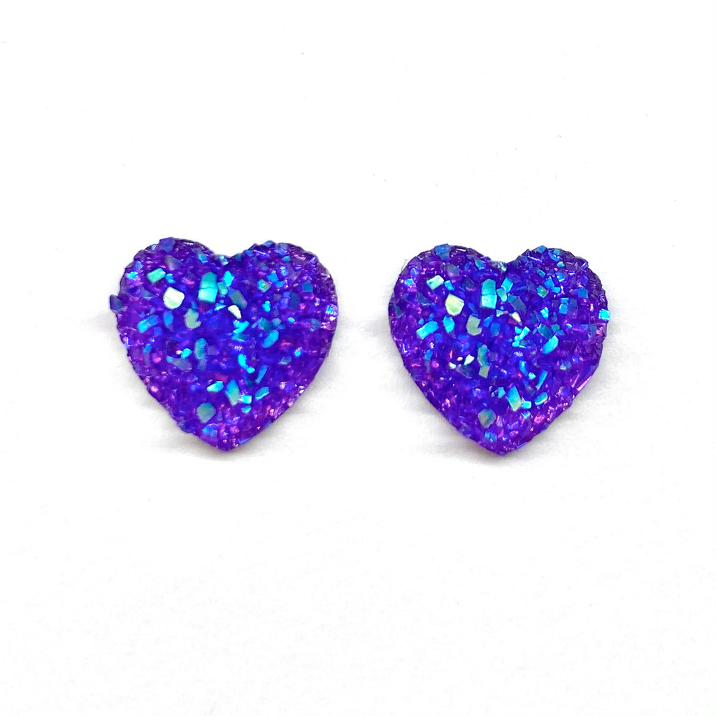 Purple Druzy Heart Earrings