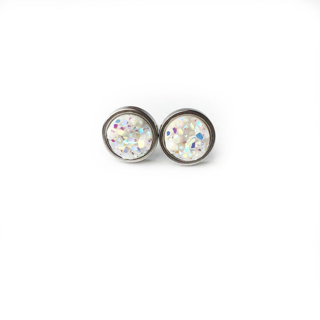 Unicorn Druzy Stud 8mm Earrings