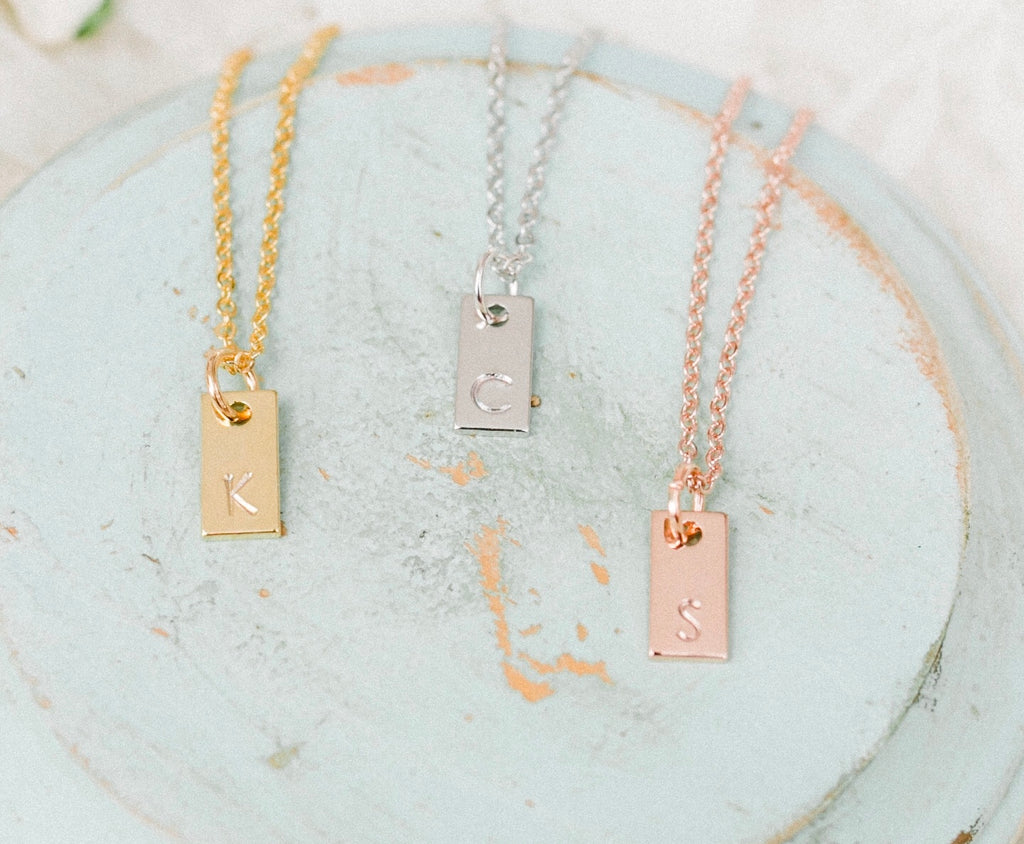 Dainty Initial Bar Necklace - Shop Kindred Together