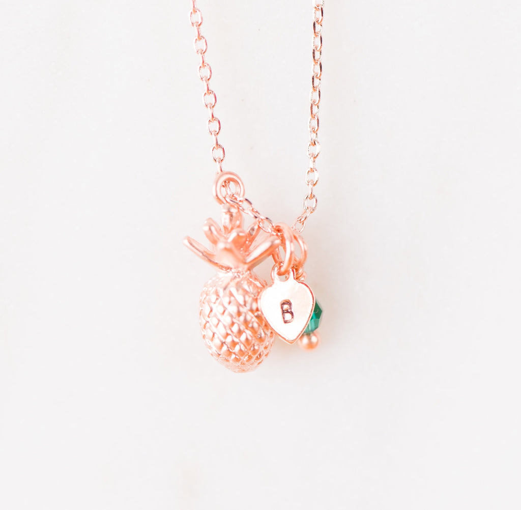 Pineapple Dainty Necklace Rose Gold