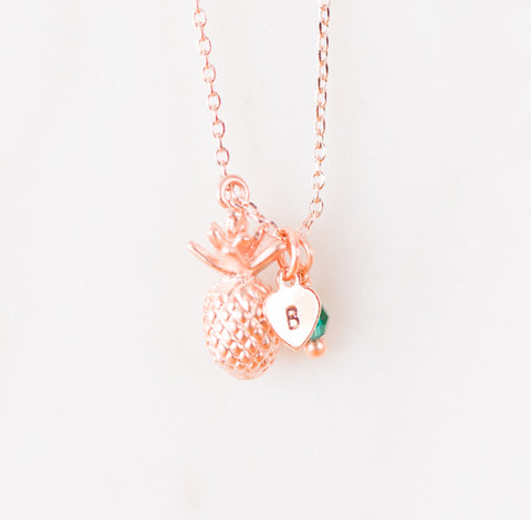 Pineapple Dainty Necklace Rose Gold - Shop Kindred Together