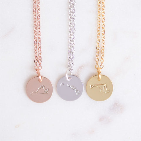 State Disc Necklace