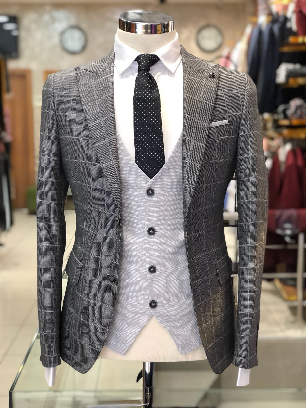 Slim-Fit Plaid Suit Gray