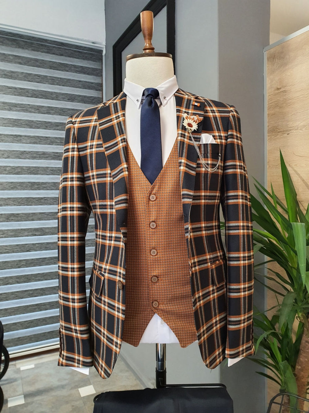 Bari Brown Slim Fit Plaid Suit