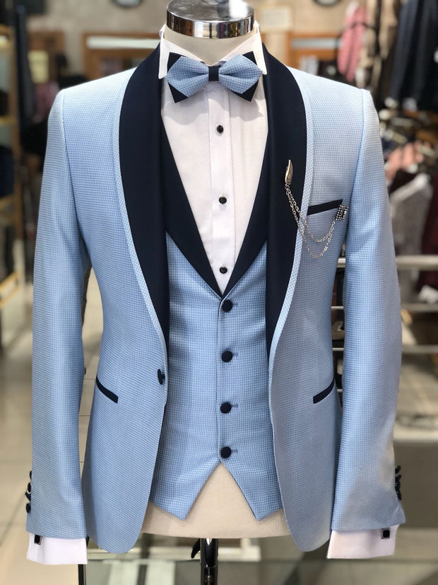 Slim-Fit Tuxedo Suit Blue