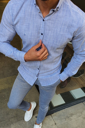 Milwaukee Blue Slim Fit Striped Shirt