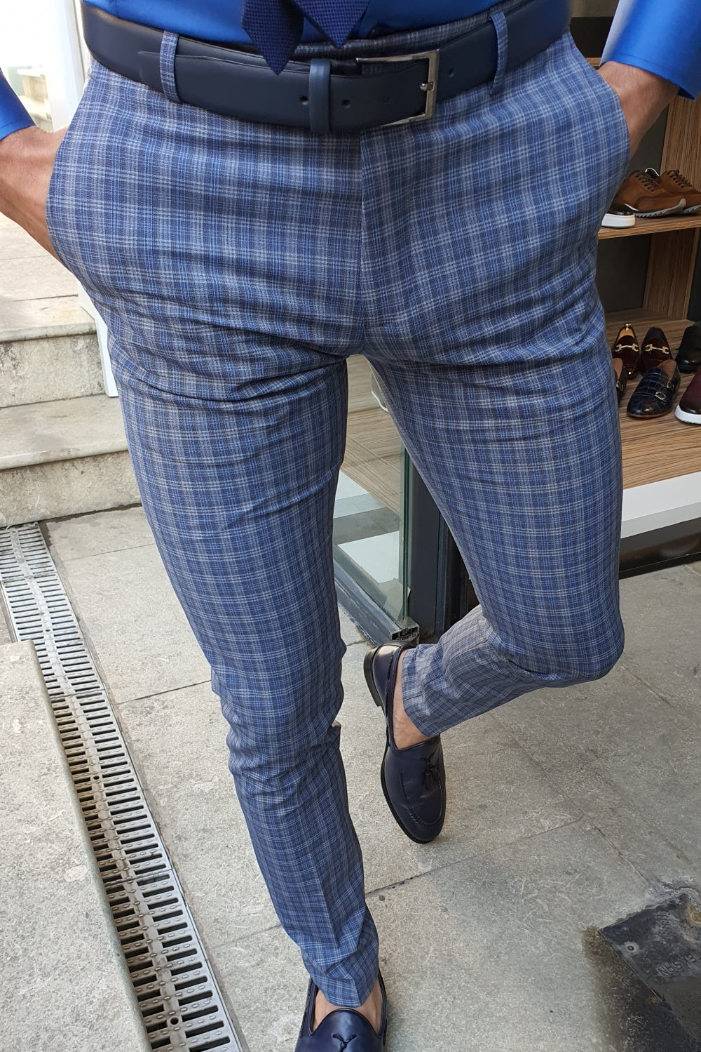 Oakland Fabric  Plaid Pants Navy Blue