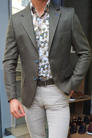 Milwaukee Khaki Slim Fit Blazer