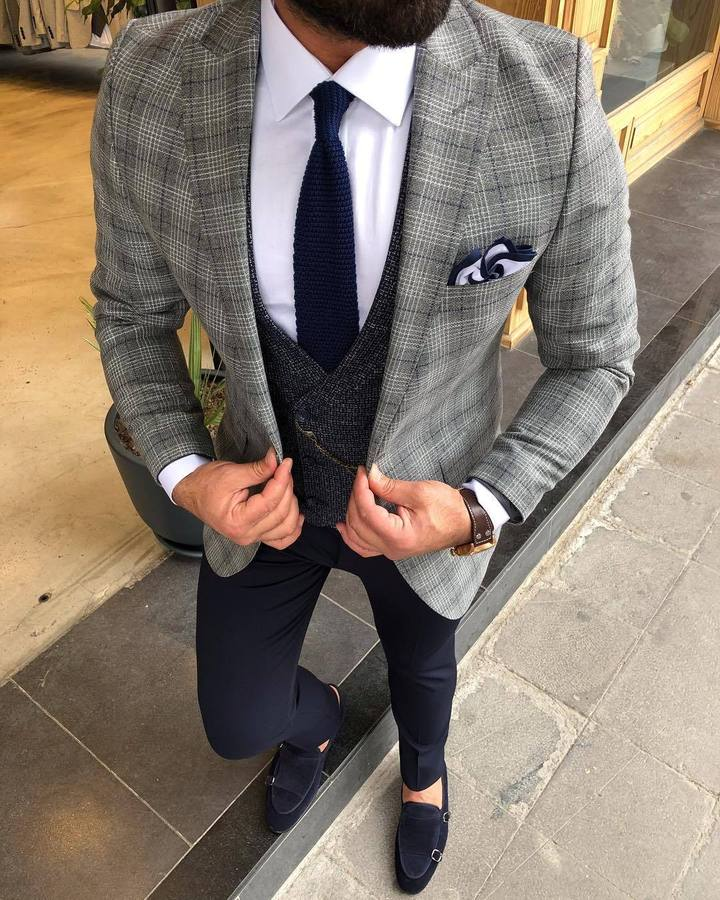 Daniel Gray Plaid Slim-Fit Suit