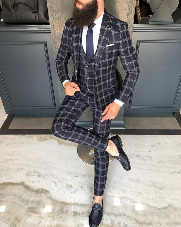 Owen Black Plaid Slim-Fit Suit