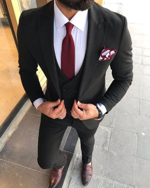 Davis Black Slim-Fit Suit
