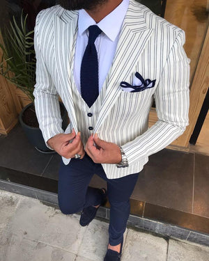 Giorgio White Striped Slim-Fit Suit