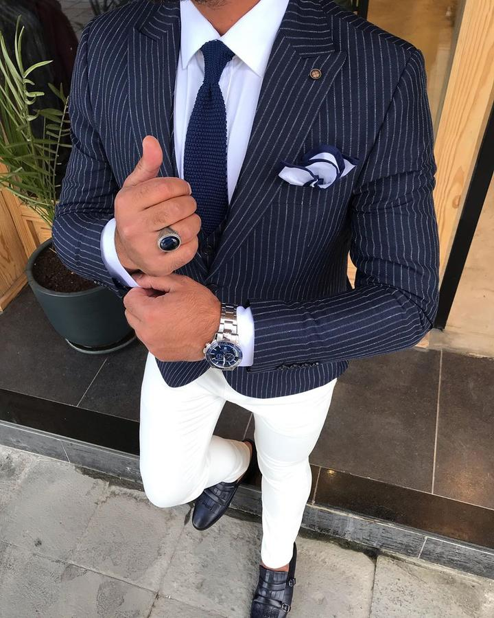 Giorgio Navy Striped Slim-Fit Suit