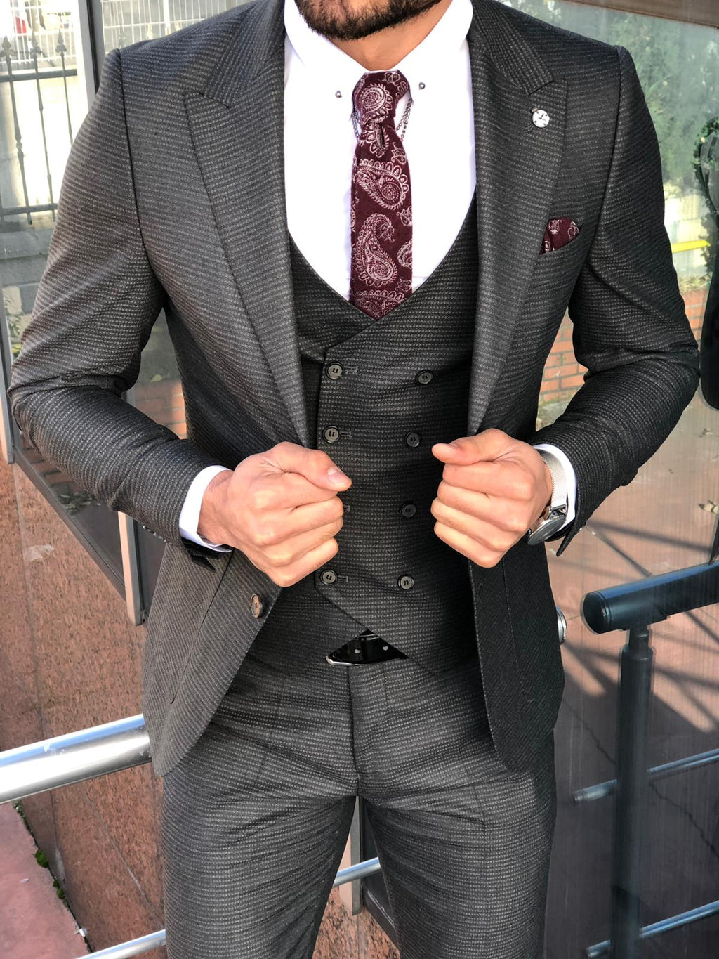 Slim-Fit Patterned  Suit Vest Anthracite