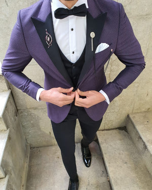 Bojoni Purple Slim Fit Patterned Tuxedo