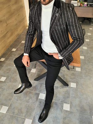 Paruri Black Slim Fit Striped Wool Long Coat