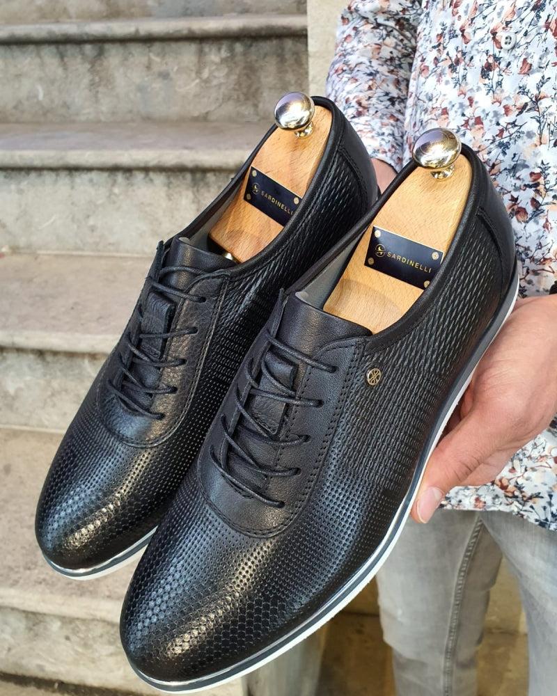 Annapolis Black Patterned Lace-Up Sneakers