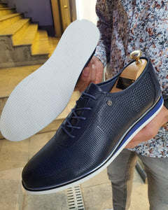 Annapolis Dark Blue Patterned Lace-Up Sneakers
