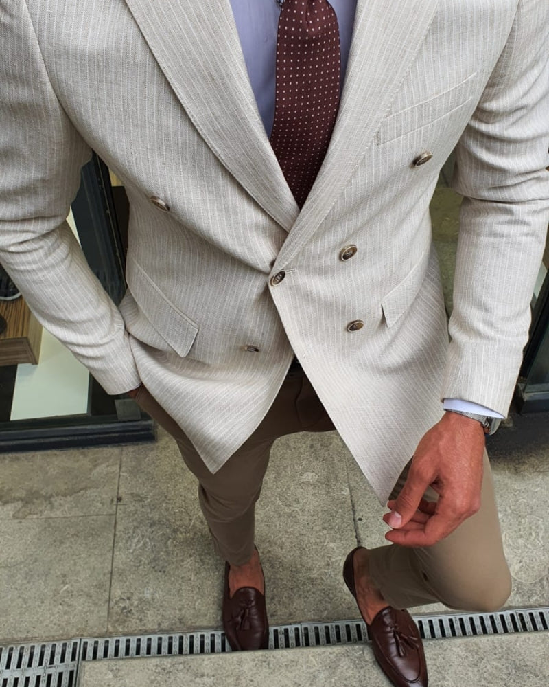 Bellingham Beige Slim Fit Double Breasted Pinstripe Blazer