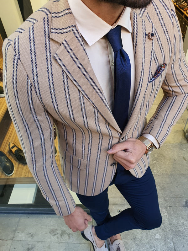 Richbaum Beige Slim Fit Striped Blazer