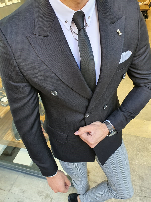 Richbaum Black Slim Fit Double Breasted Blazer