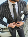 Richbaum Black Slim Fit Striped Blazer