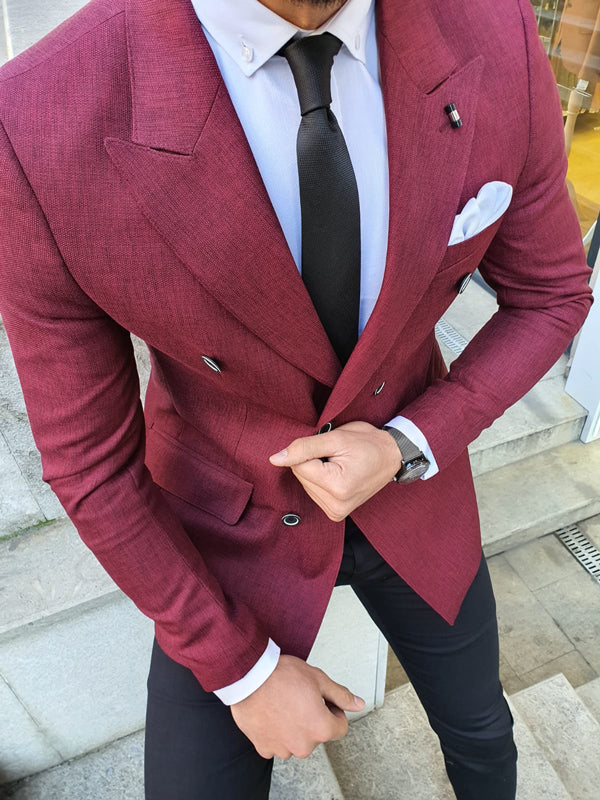 Richbaum Burgundy Slim Fit Double Breasted Blazer