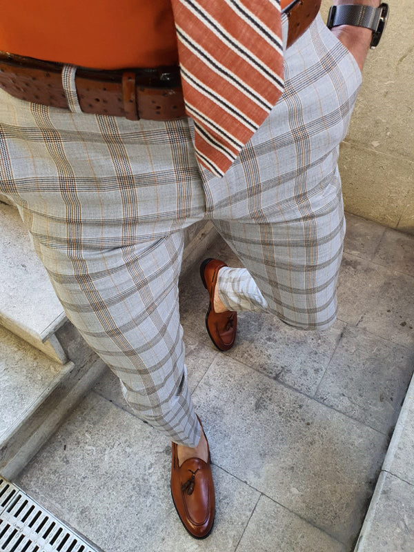 Shelton Camel Slim Fit Plaid Pants