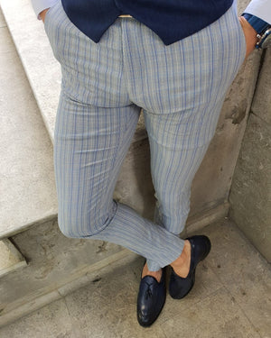 Lumas Bellingham Gray Slim Fit Pinstripe Pants
