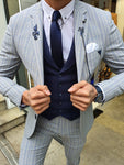 Verno Bellingham Gray Slim Fit Pinstripe Suit