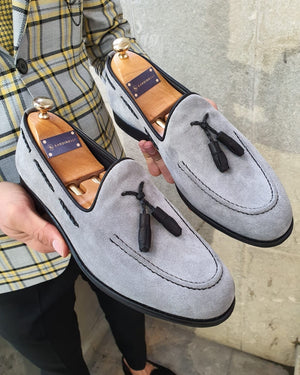 Bojo Ringford Gray Slim Fit Suede Tassel Loafer