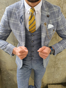 Verno Original Light Blue Slim Fit Plaid Suit