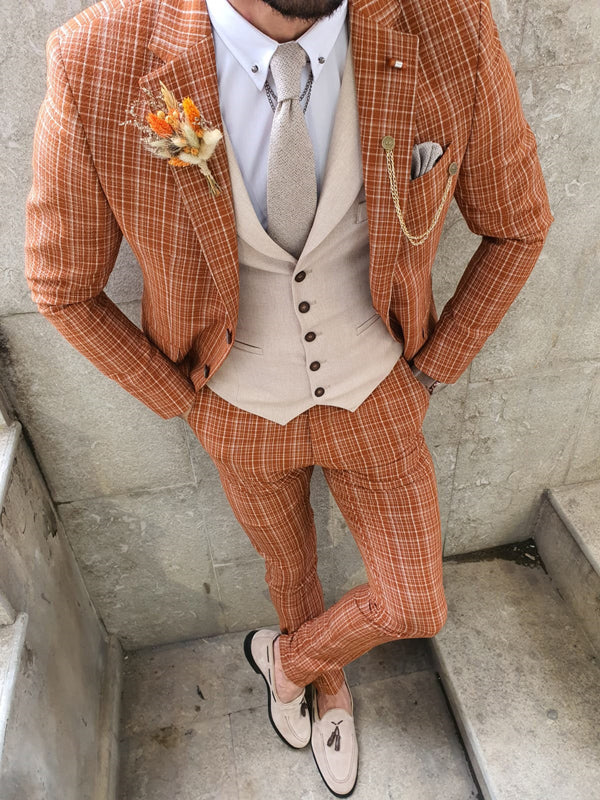 Verno Bellingham Orange Slim Fit Check Suit