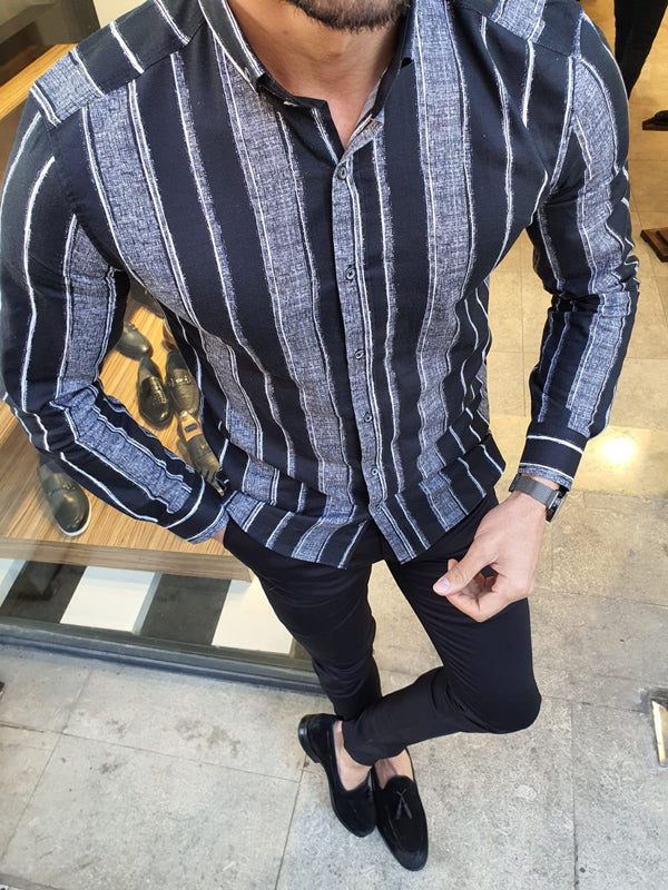 Toni  Black Slim Fit Striped Cotton Shirt